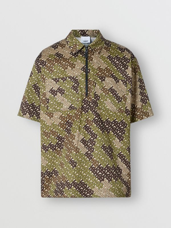 Short-sleeve Monogram Print Cotton Shirt in Khaki Green - Men | Burberry - cell image 3