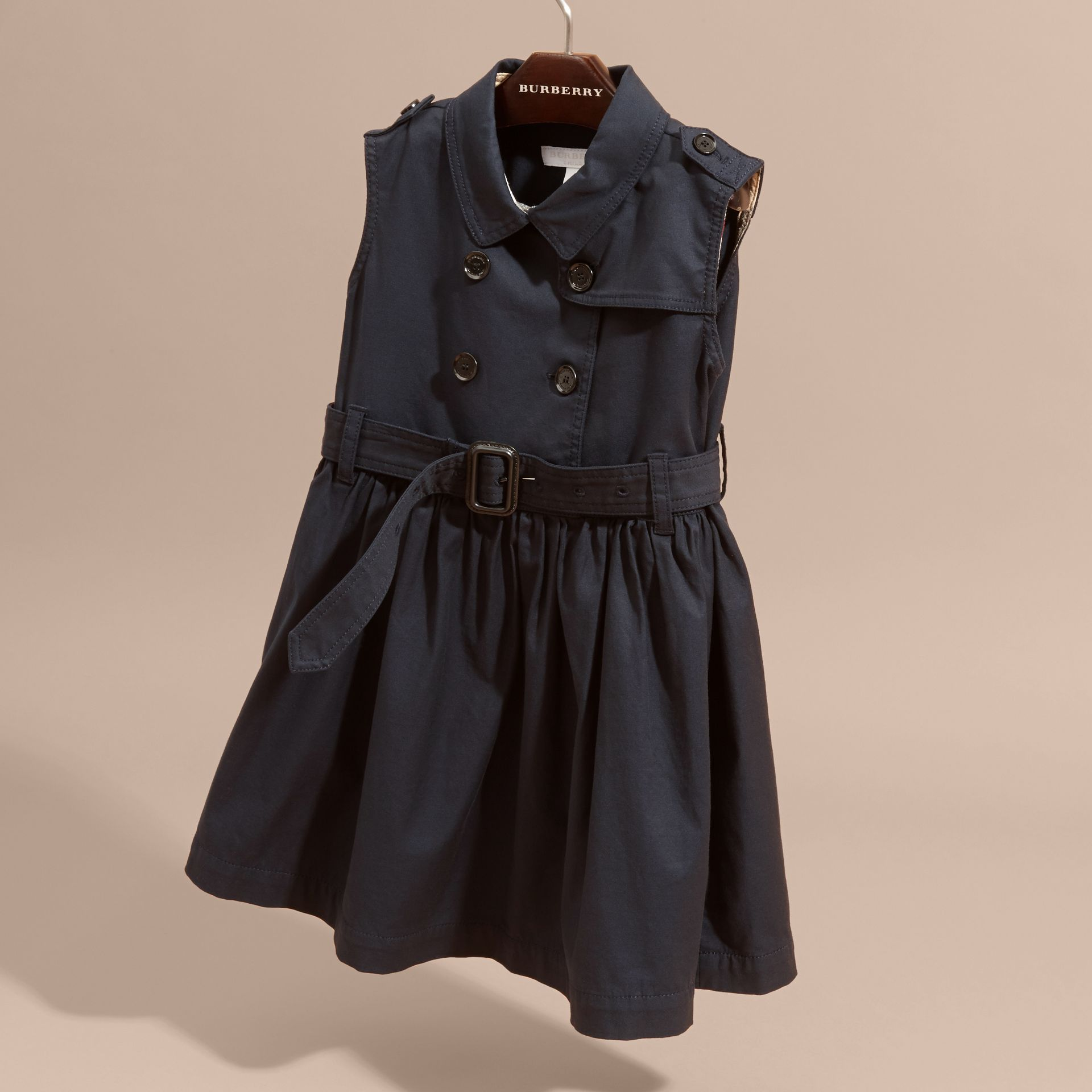 Navy Stretch Cotton Sleeveless Trench Dress - gallery image 3
