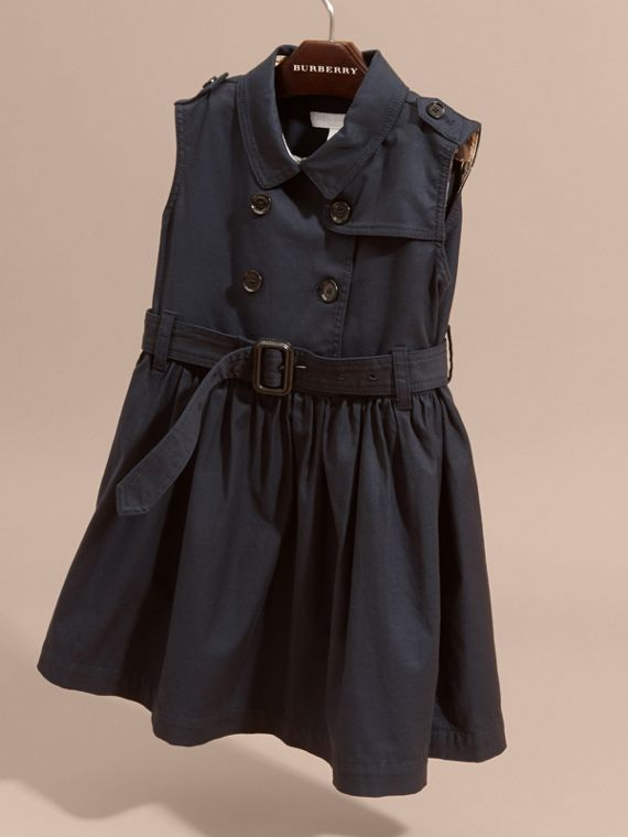 Navy Stretch Cotton Sleeveless Trench Dress - cell image 2