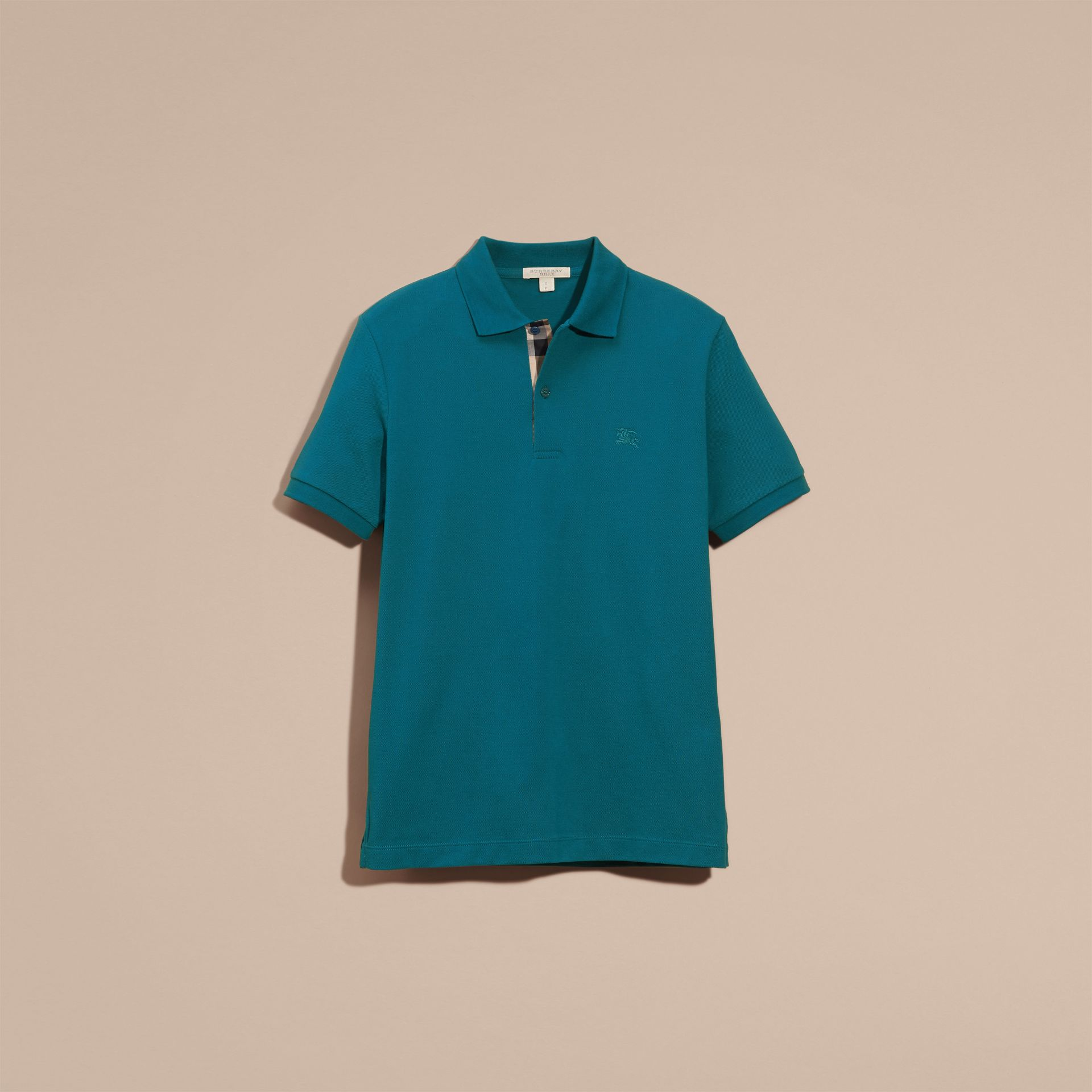 Check Placket Cotton Piqué Polo Shirt in Mineral Blue - gallery image 4