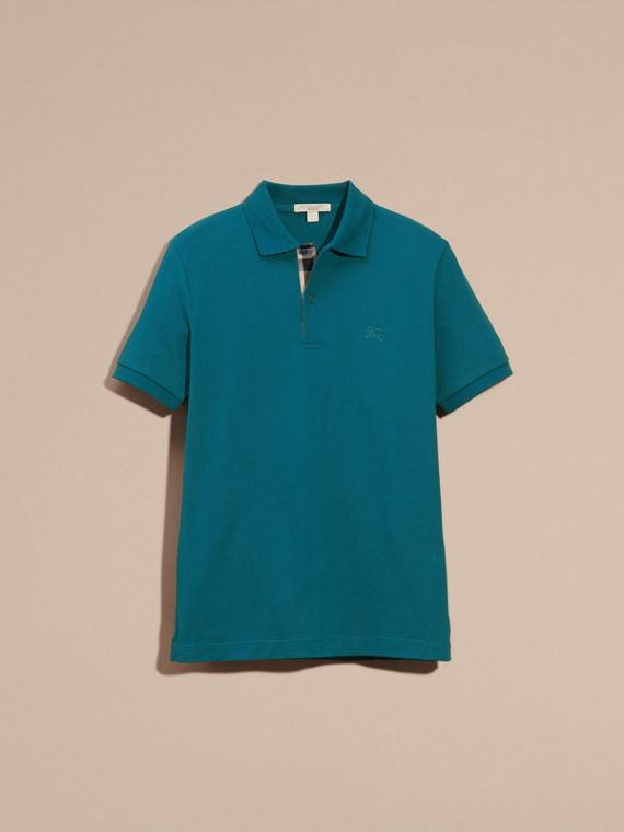 Check Placket Cotton Piqué Polo Shirt in Mineral Blue - cell image 3