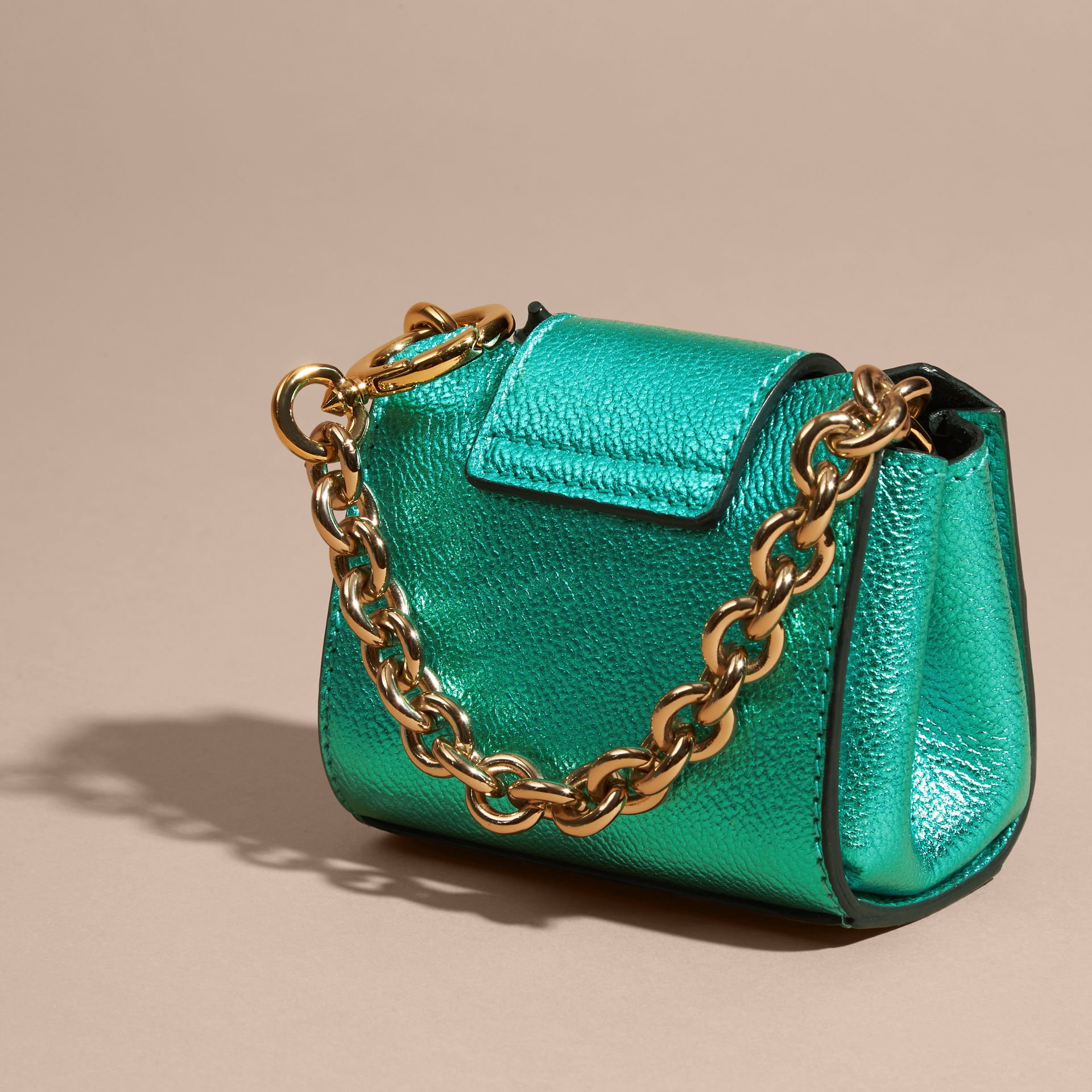 Emerald The Mini Buckle Tote Charm in Metallic Leather Emerald - gallery image 4