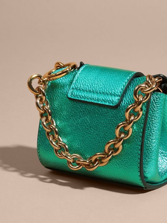 Emerald The Mini Buckle Tote Charm in Metallic Leather Emerald - cell image 3