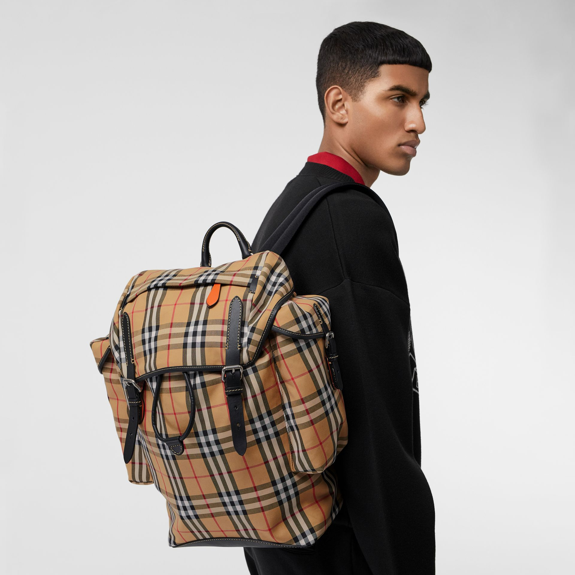 Vintage Check and Leather Backpack in Clementine - Men | Burberry - gallery image 5