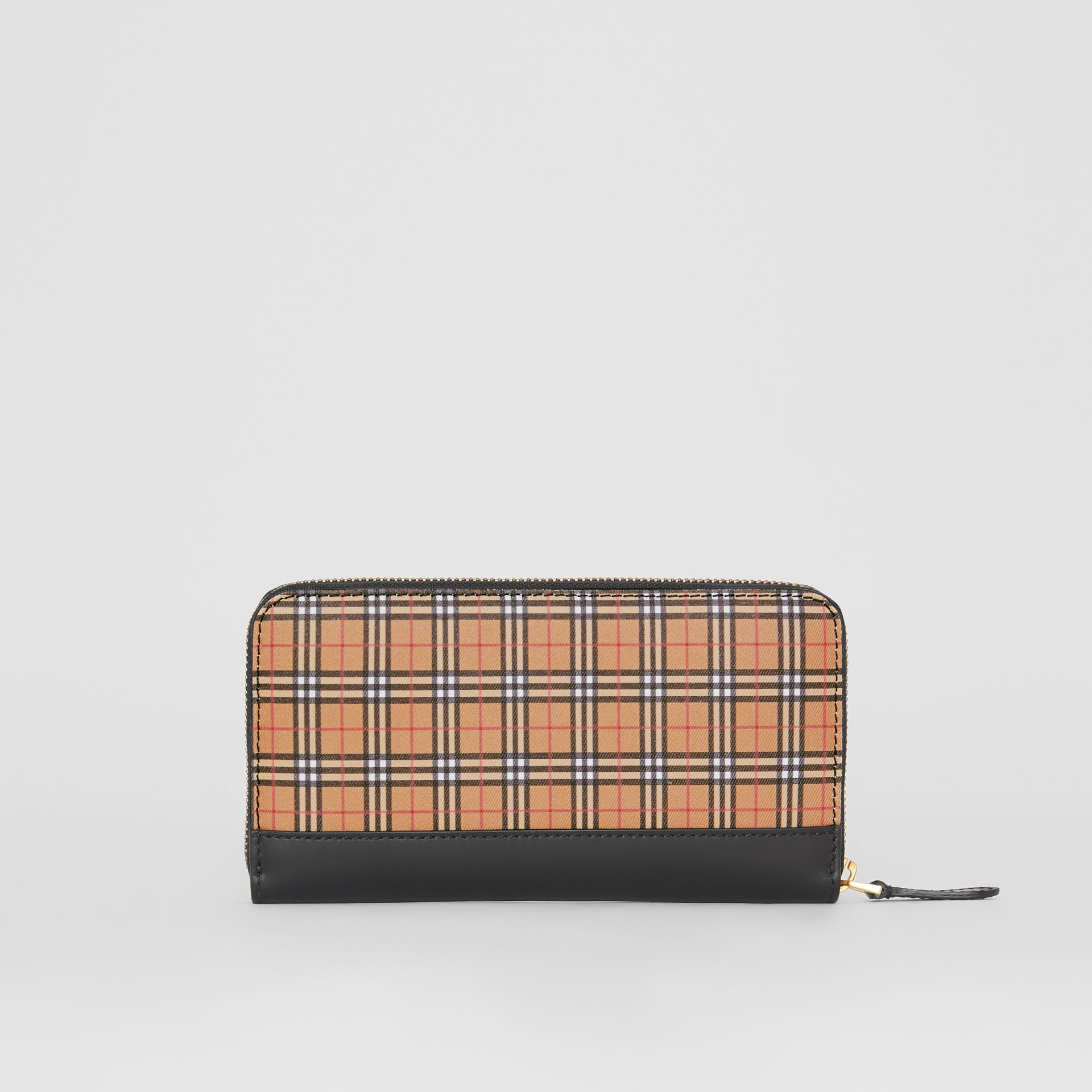 Small Scale Check and Leather Ziparound Wallet in Antique Yellow - Women | Burberry - gallery image 5