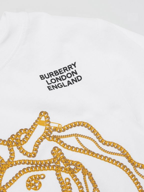 Chain Print Cotton T-shirt in White | Burberry - cell image 1