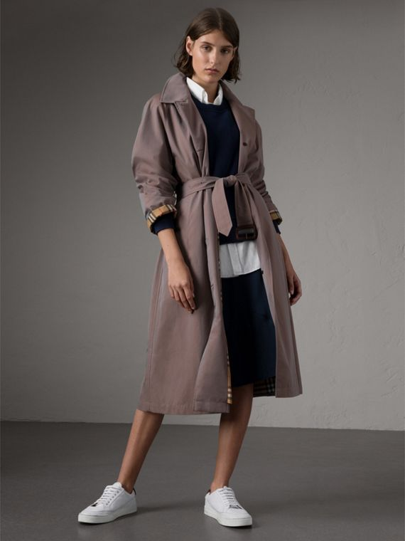 The Brighton – Longline Car Coat in Lilac Grey - Women | Burberry