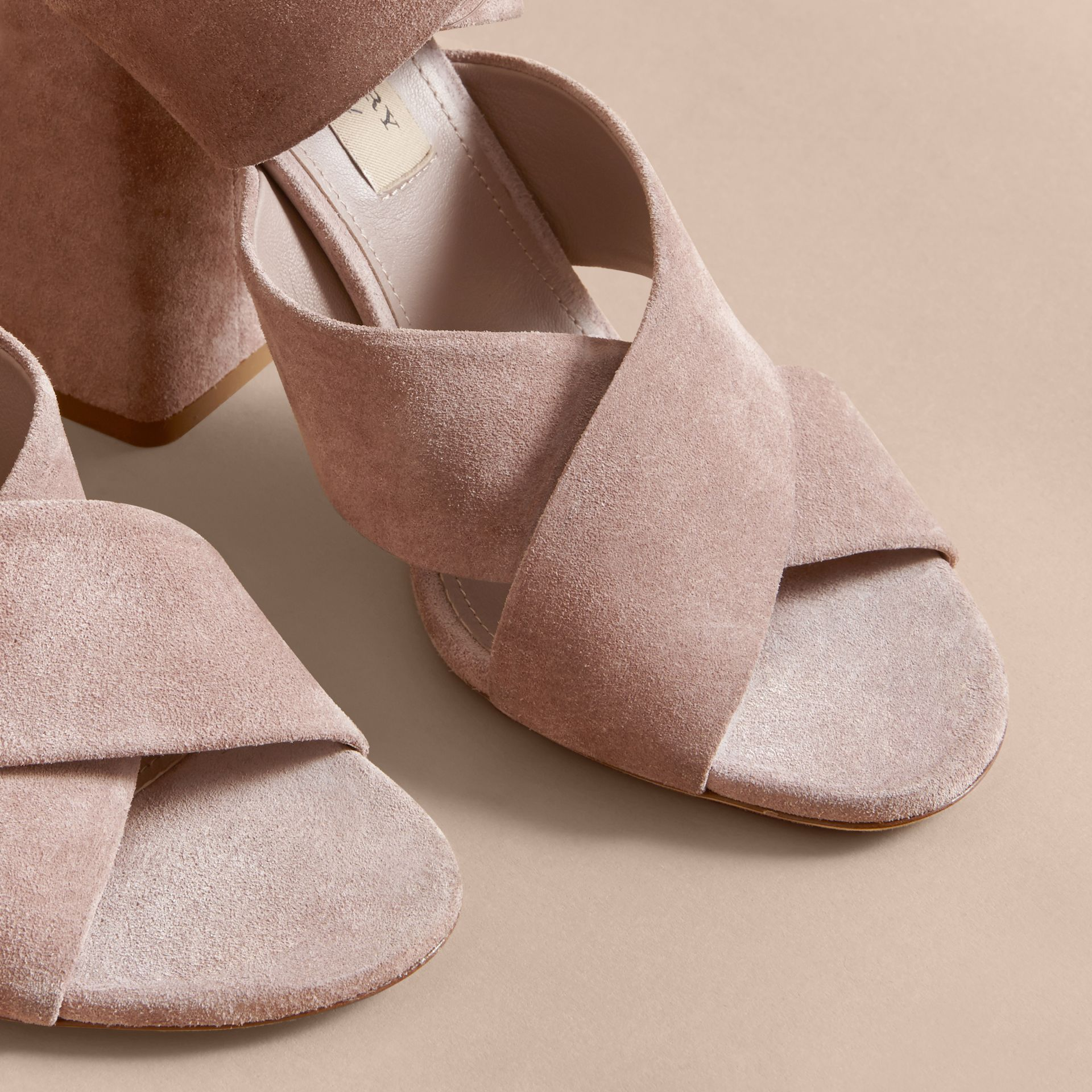 Buckle Detail Suede Crossover Strap Sandals in Ivory Pink - Women | Burberry - gallery image 5