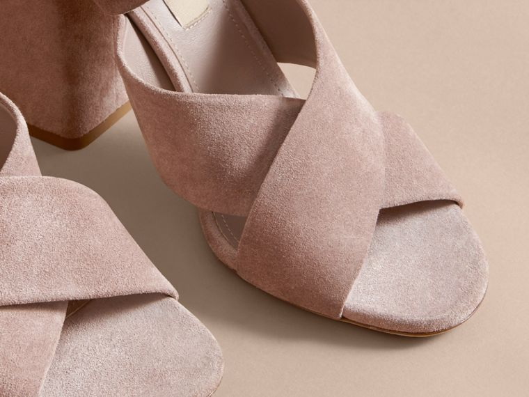Buckle Detail Suede Crossover Strap Sandals in Ivory Pink - Women | Burberry - cell image 4