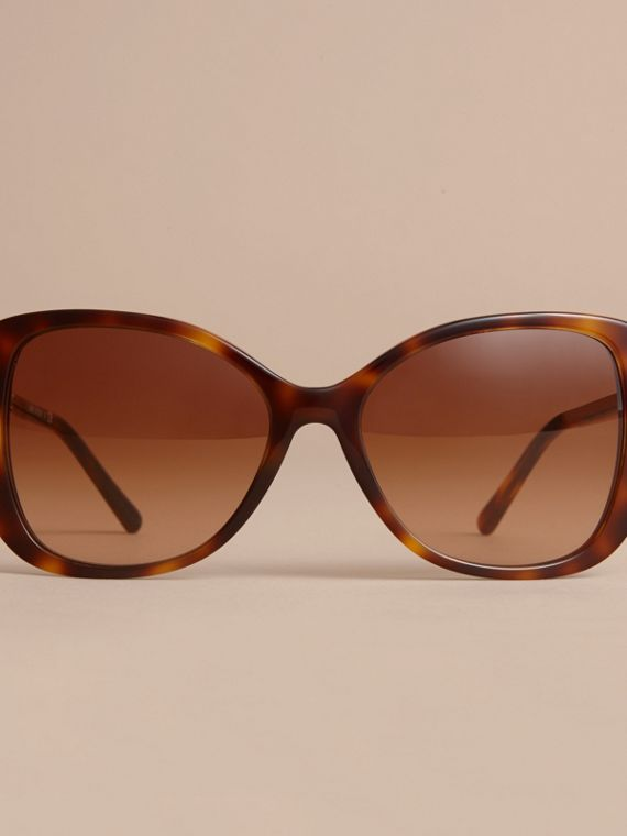 Check Detail Butterfly Frame Sunglasses Tortoiseshell - cell image 2