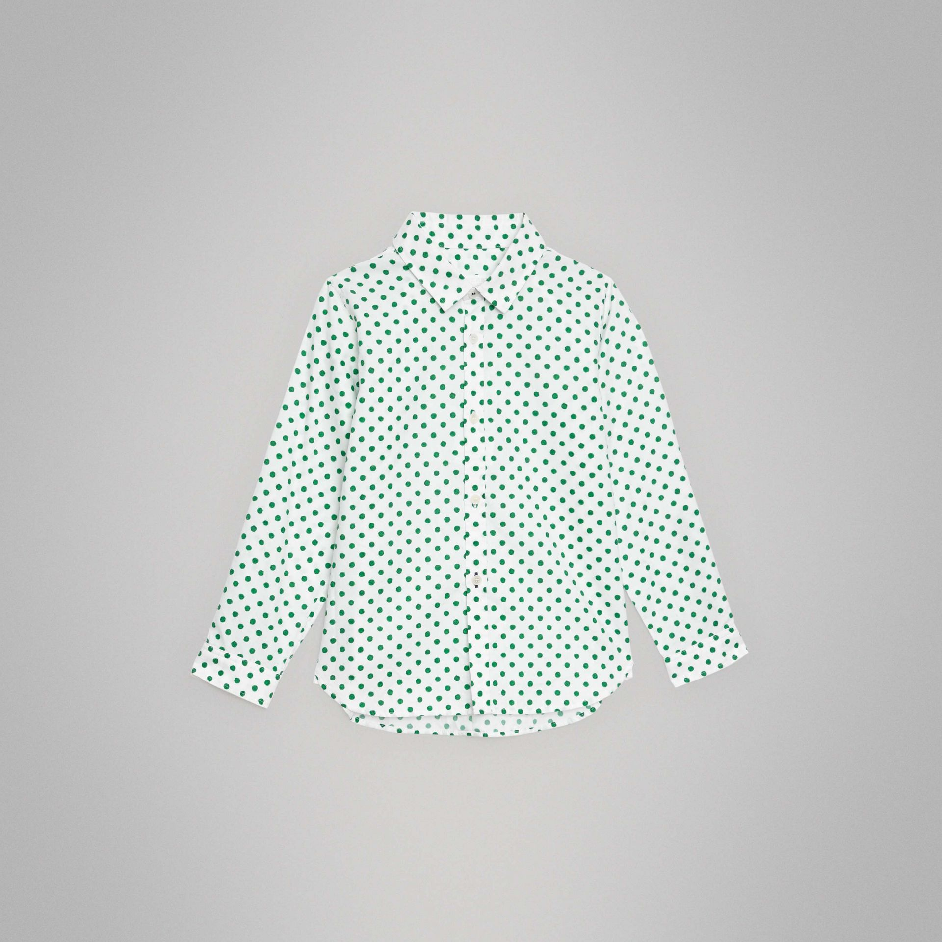 Polka Dot Cotton Oxford Shirt in Emerald Green | Burberry Singapore - gallery image 0