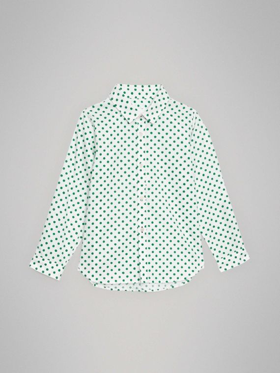 Camisa Oxford en algodón a lunares (Verde Esmeralda)
