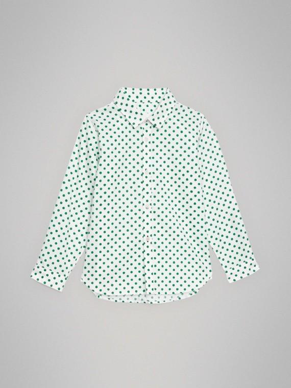 Camisa Oxford de algodão com estampa de poás (Verde Esmeralda)