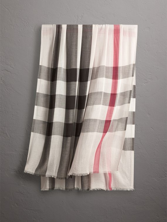 Check Modal Cashmere and Silk Scarf in Stone