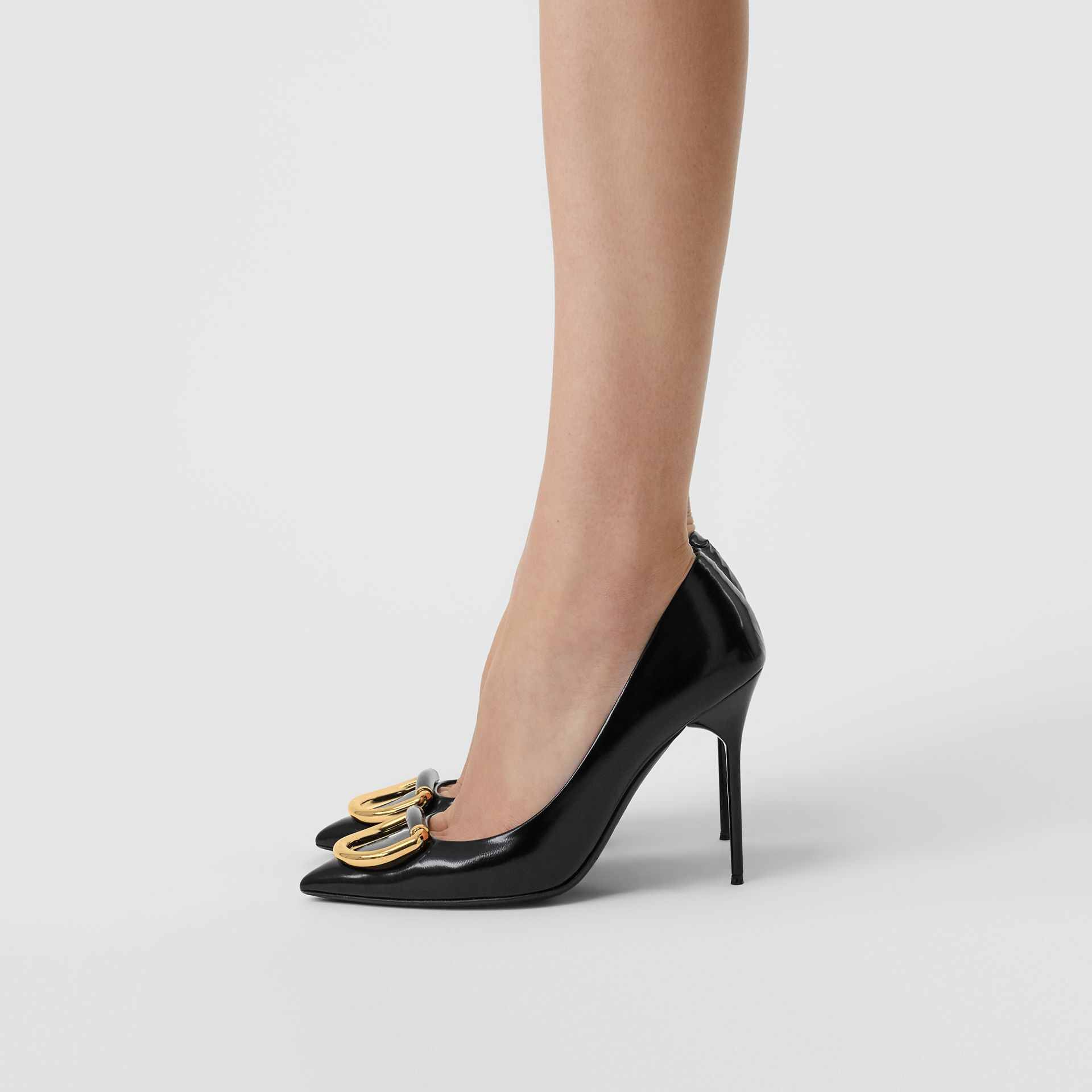The Leather D-ring Stiletto in Black/gold - Women | Burberry United Kingdom - gallery image 2