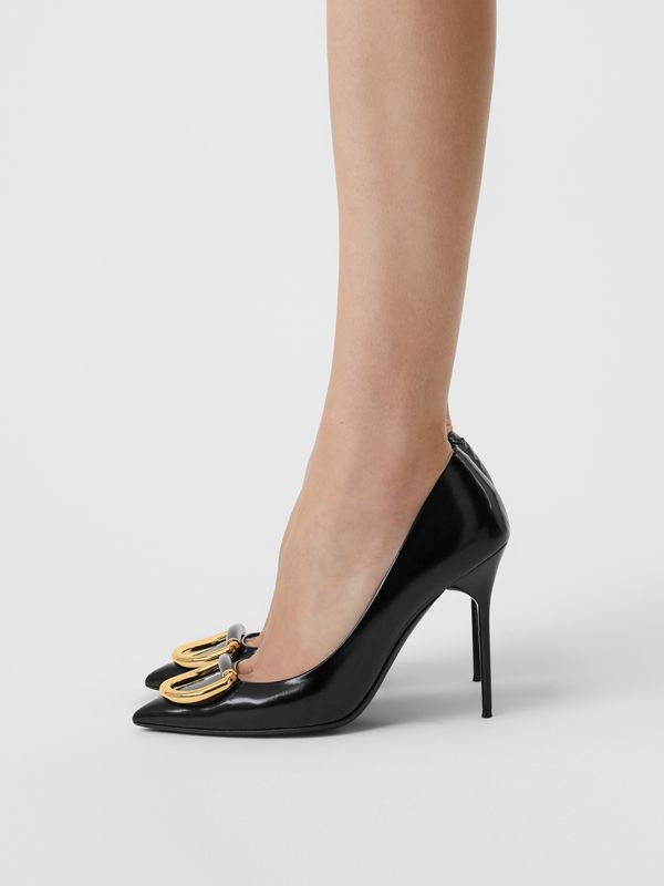 The Leather D-ring Stiletto in Black/gold - Women | Burberry - cell image 2