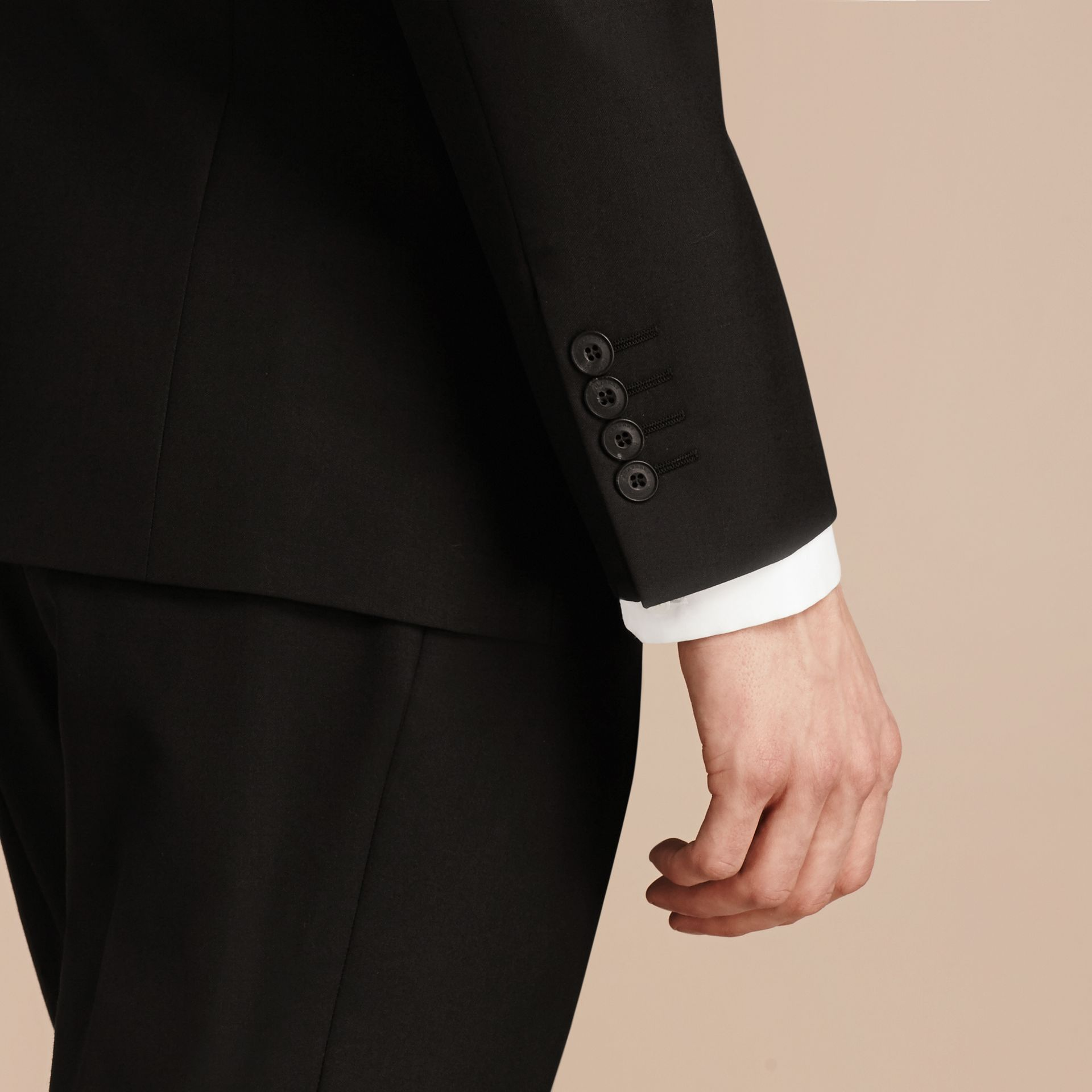 Modern Fit Wool Part-canvas Suit in Black - Men | Burberry - gallery image 6