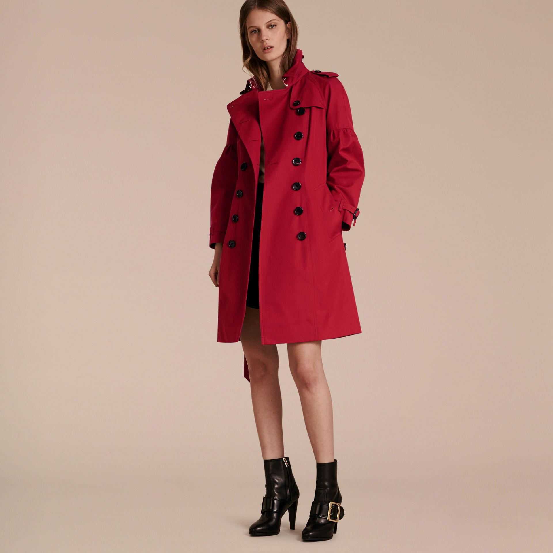 Parade red Cotton Gabardine Trench Coat with Puff Sleeves Parade Red - gallery image 6