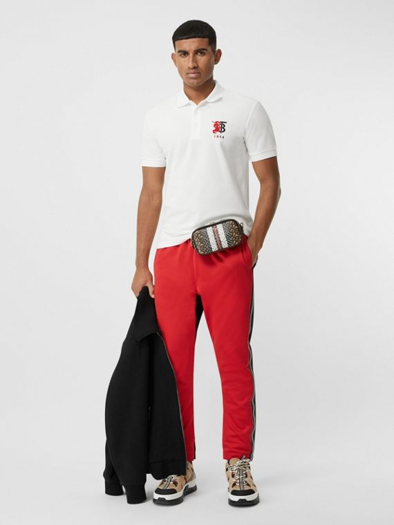 Polo en piqué de coton avec logo bicolore (Blanc)