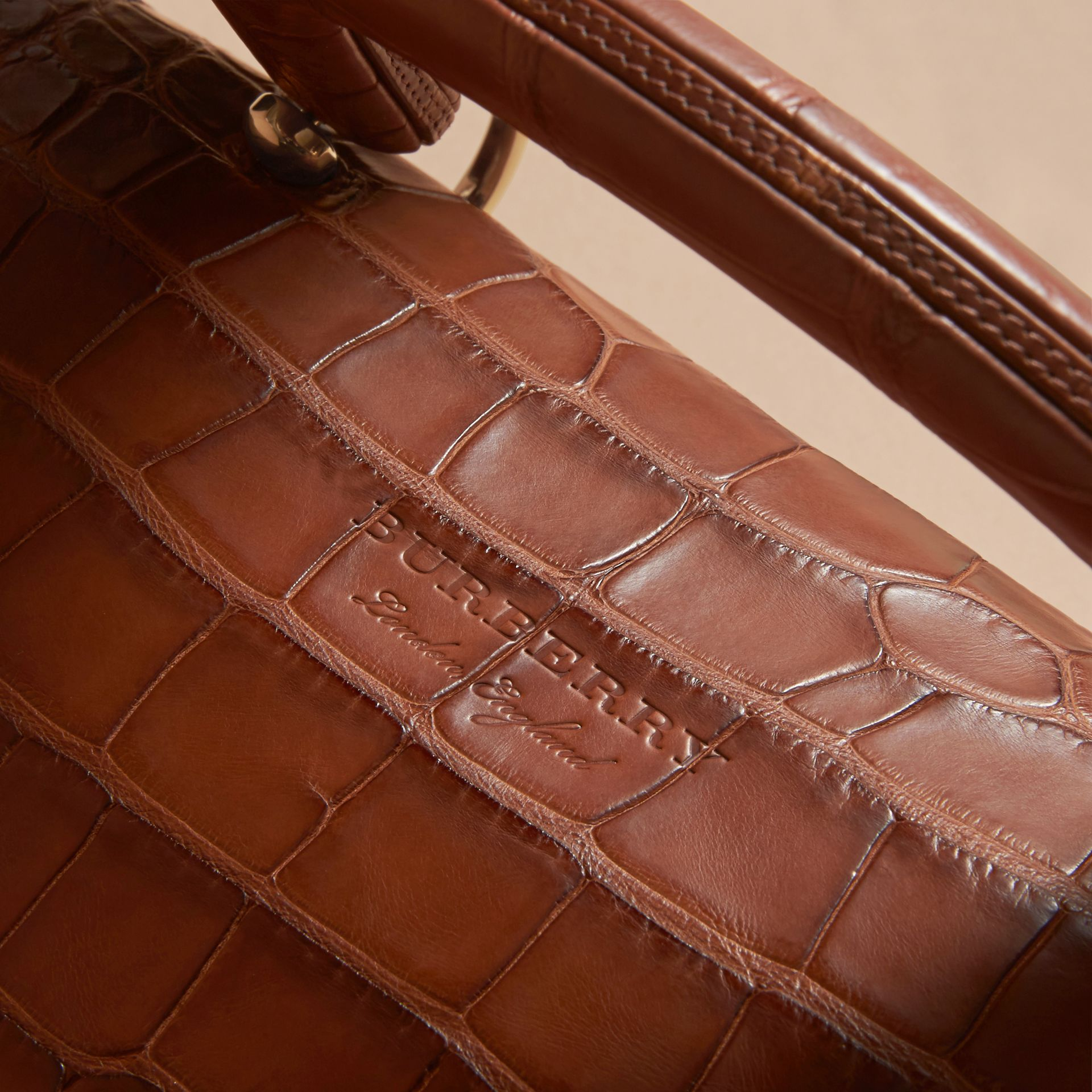 The Medium DK88 Top Handle Bag in Alligator in Tan - Women | Burberry - gallery image 5