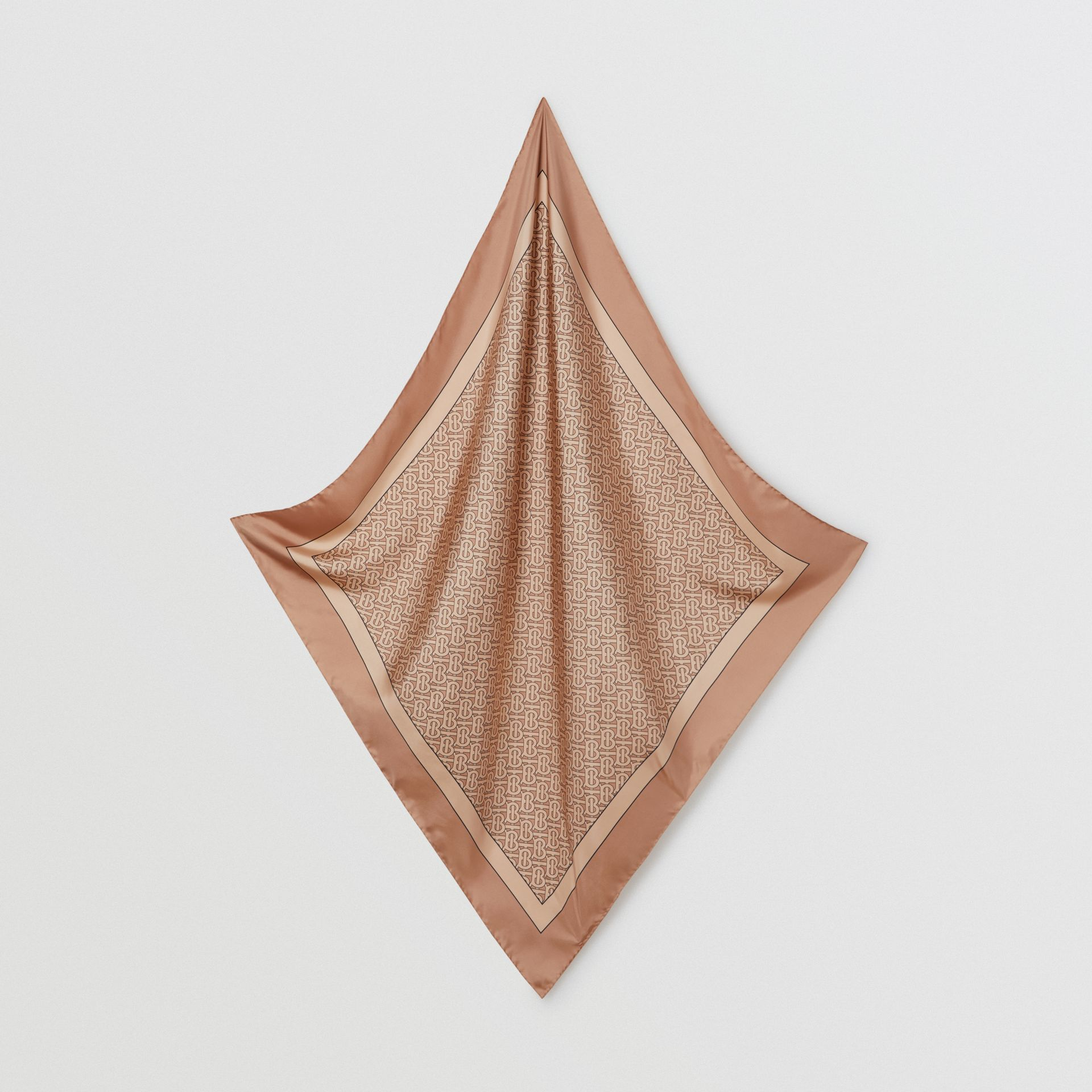 Monogram Print Silk Square Scarf in Camel | Burberry - gallery image 3