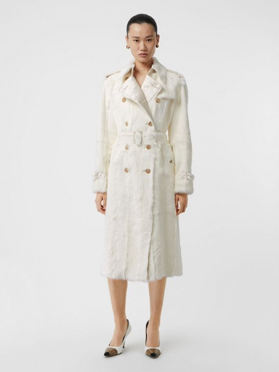 Trench coat de pelo caprino (Cru)