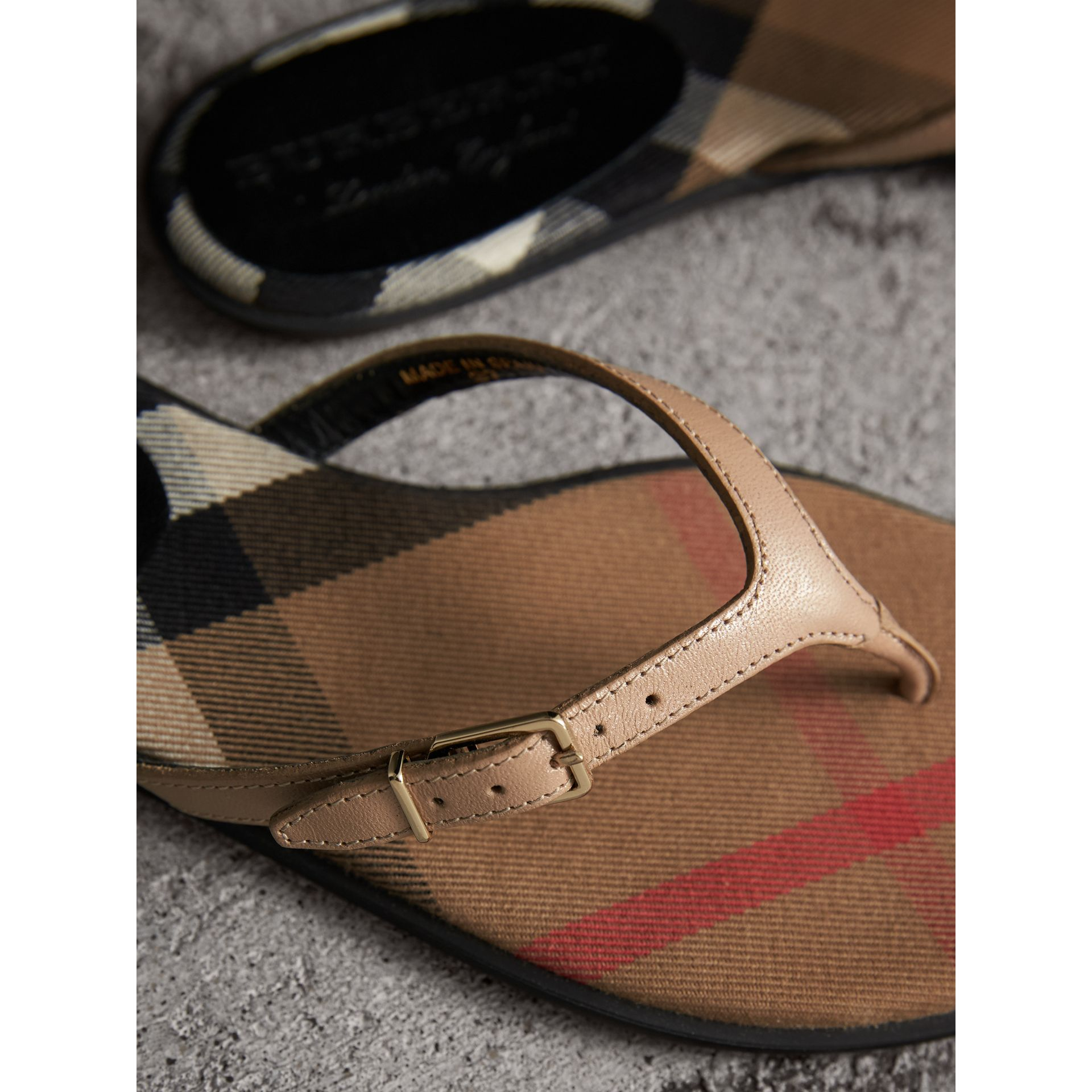 House Check and Patent Leather Sandals in Honey - Women | Burberry United Kingdom - gallery image 2