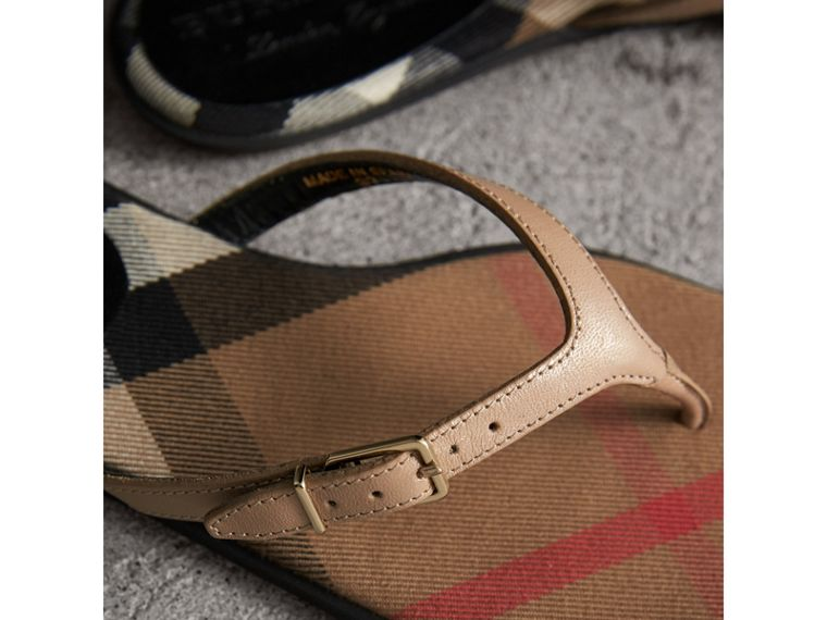 House Check and Patent Leather Sandals in Honey - Women | Burberry United Kingdom - cell image 1