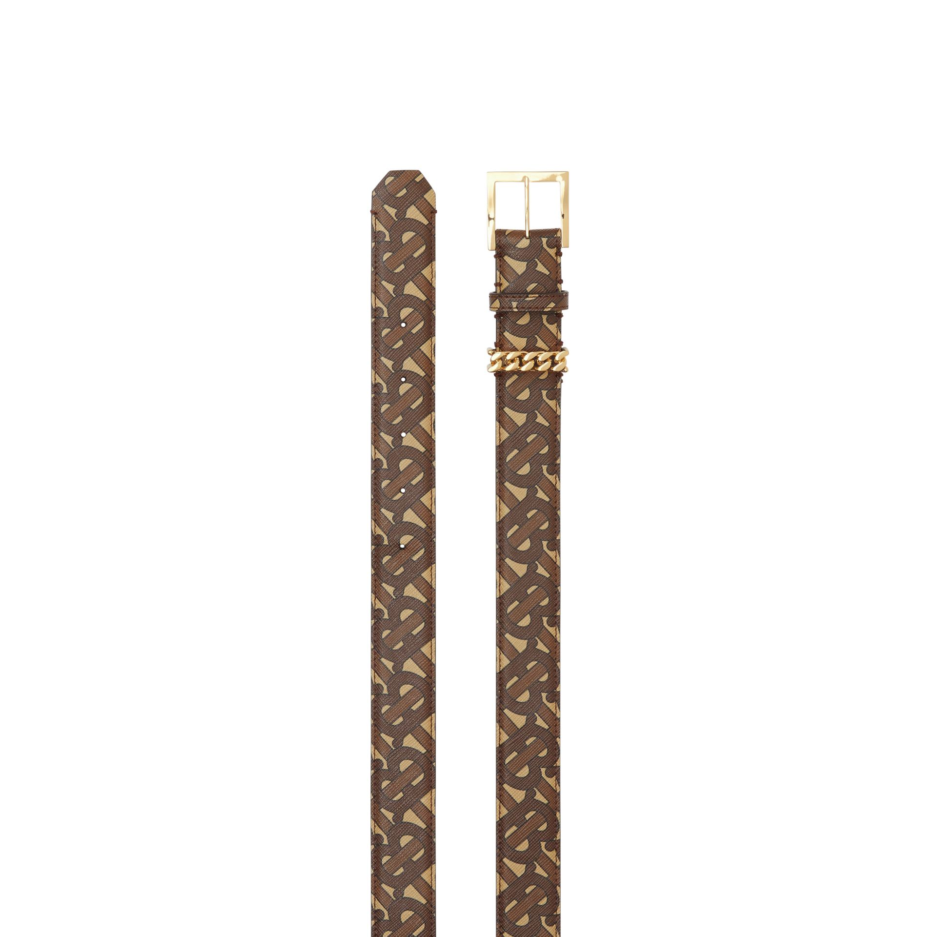 Chain Detail Monogram Print E-canvas Belt in Bridle Brown - Women | Burberry - gallery image 5