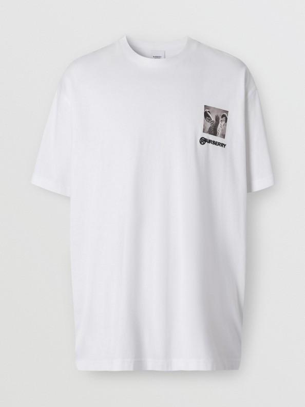 Camiseta extragrande en algodón con estampado de montaje (Blanco Óptico)