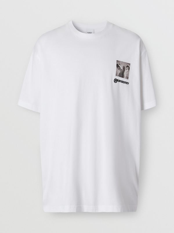 Montage Print Cotton Oversized T-shirt in Optic White | Burberry Canada - cell image 3