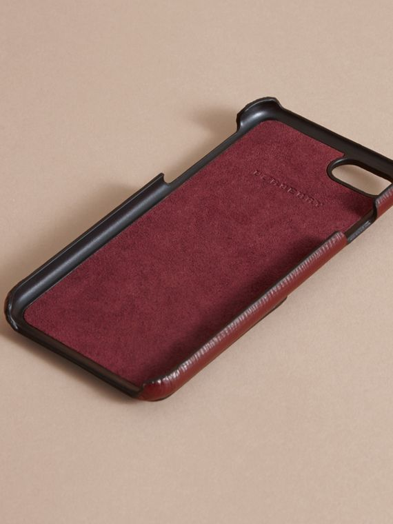 Grainy Leather iPhone 7 Case Burgundy Red - cell image 3