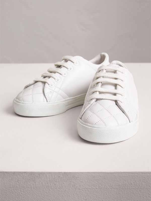 Check Detail Leather Sneakers in Optic White | Burberry - cell image 3