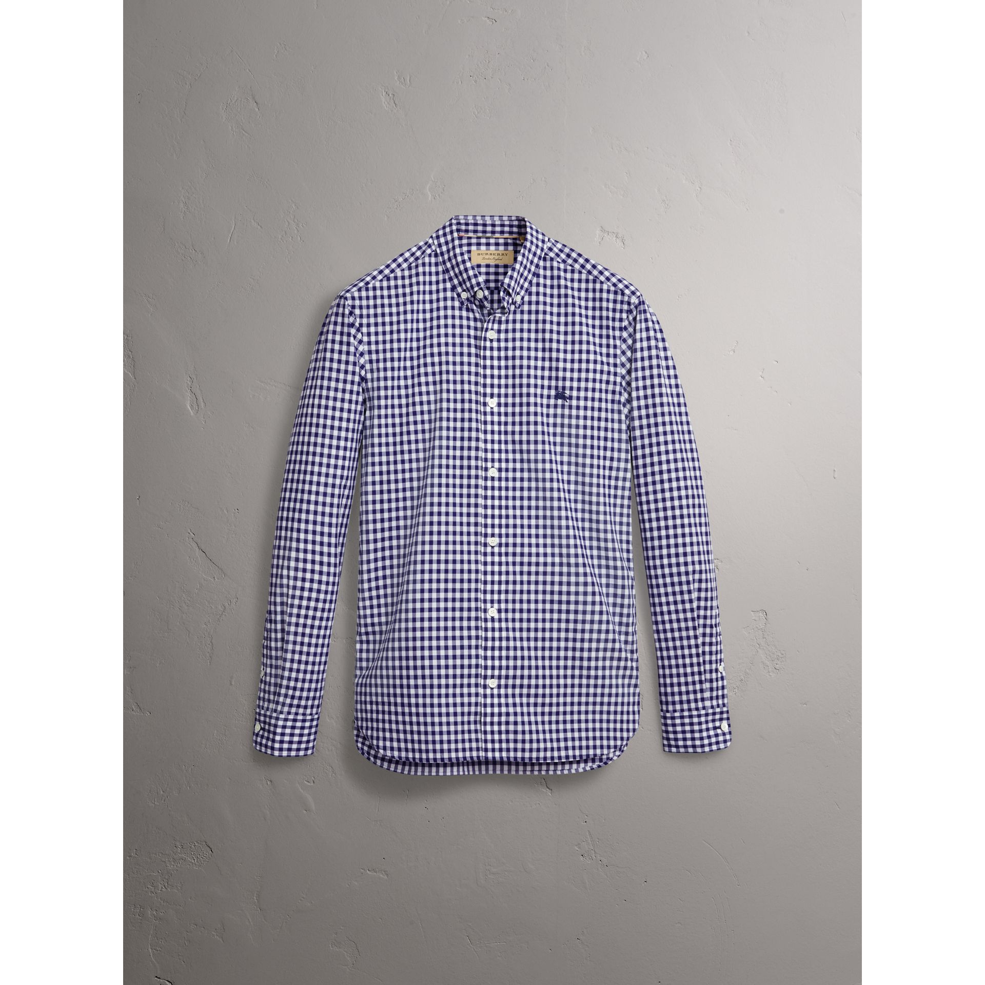 Button-down Collar Gingham Cotton Shirt in Navy - Men | Burberry United Kingdom - gallery image 4