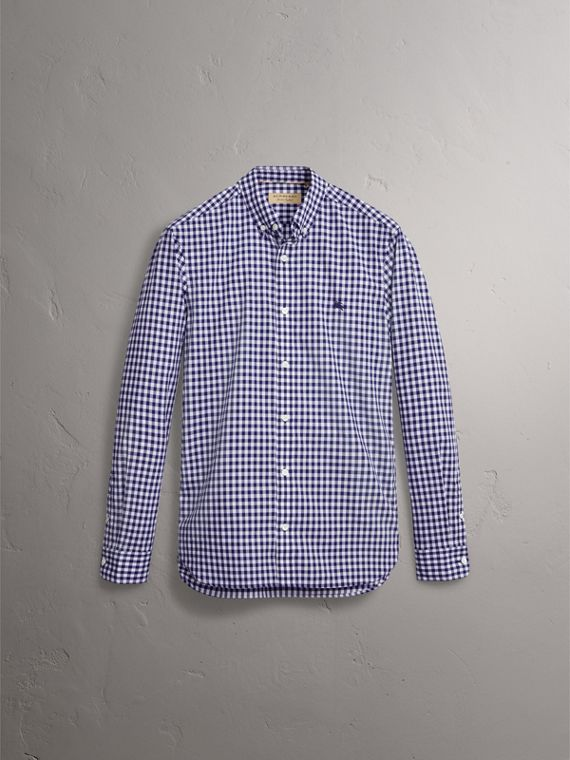 Button-down Collar Gingham Cotton Shirt in Navy - Men | Burberry United Kingdom - cell image 3