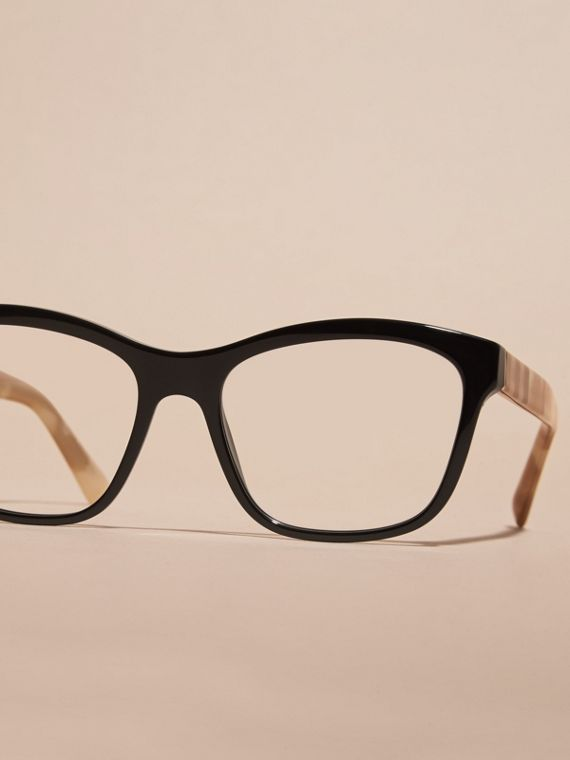 Check Detail Square Optical Frames Black - cell image 2