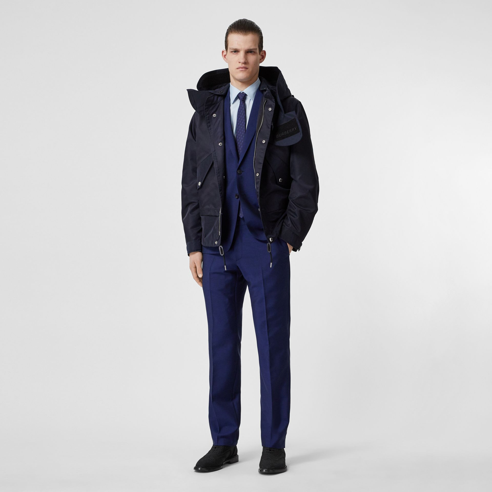 Slim Fit Wool Mohair Suit in Navy - Men | Burberry - gallery image 0