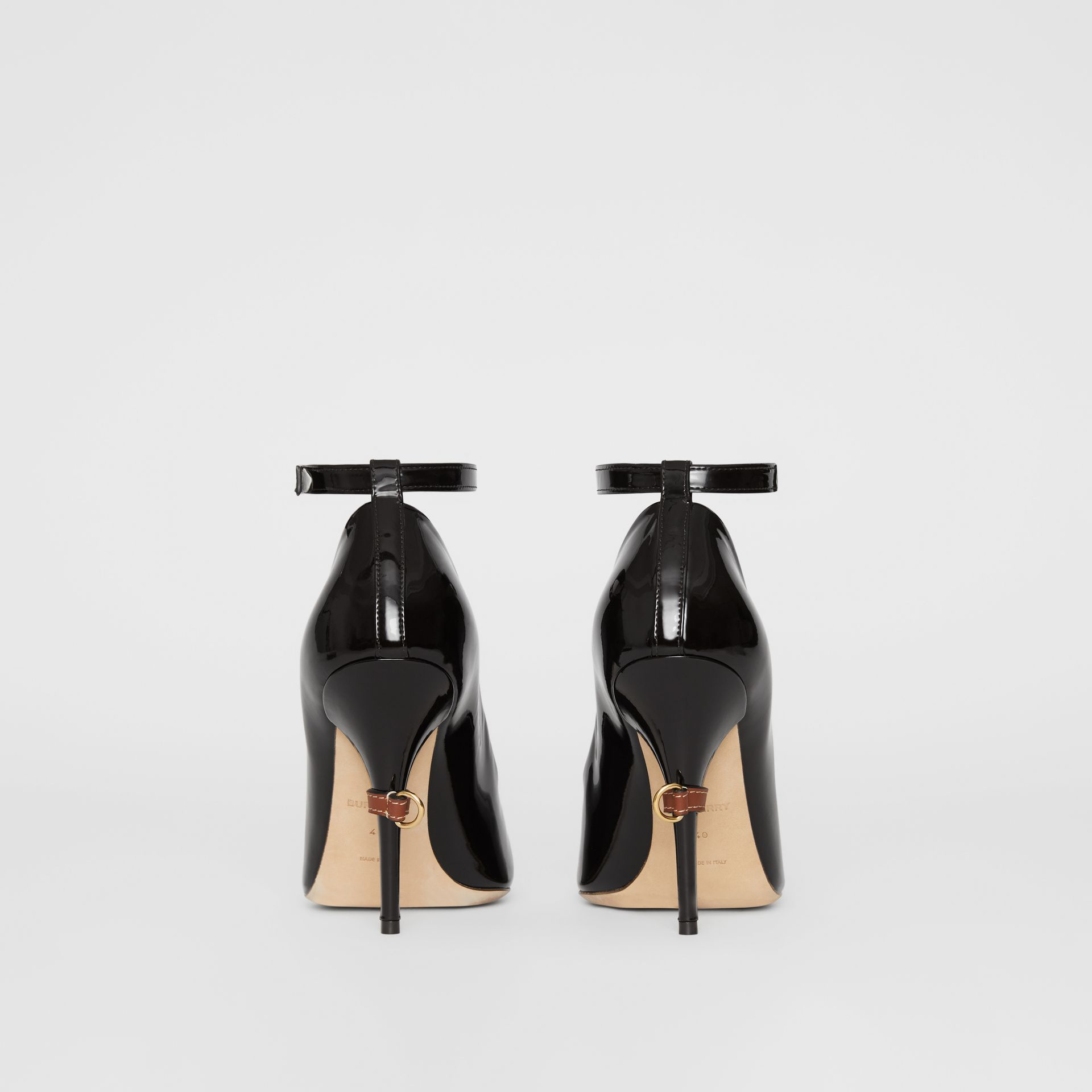 D-ring Detail Patent Leather Peep-toe Pumps in Coffee - Women | Burberry Australia - gallery image 4