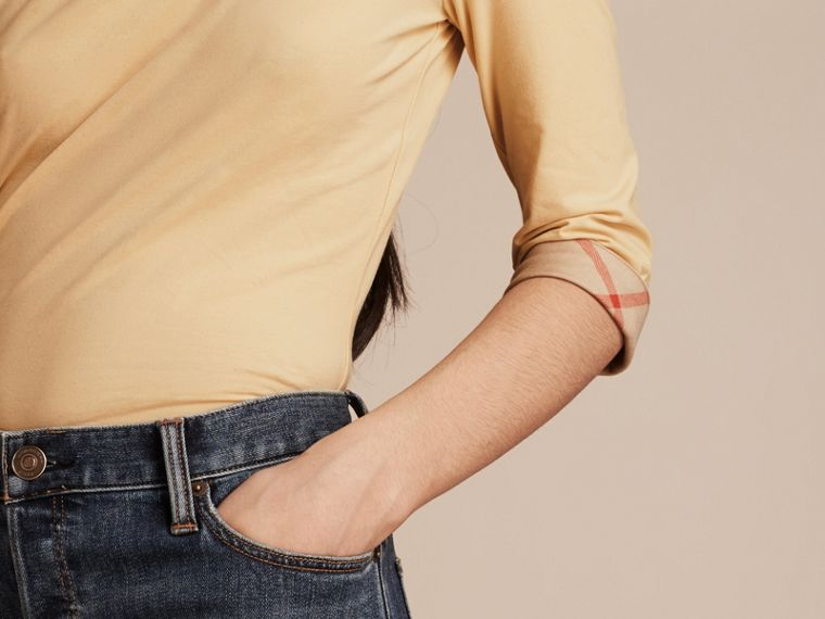 Pale lemon Check Cuff Stretch-Cotton Top Pale Lemon - cell image 4