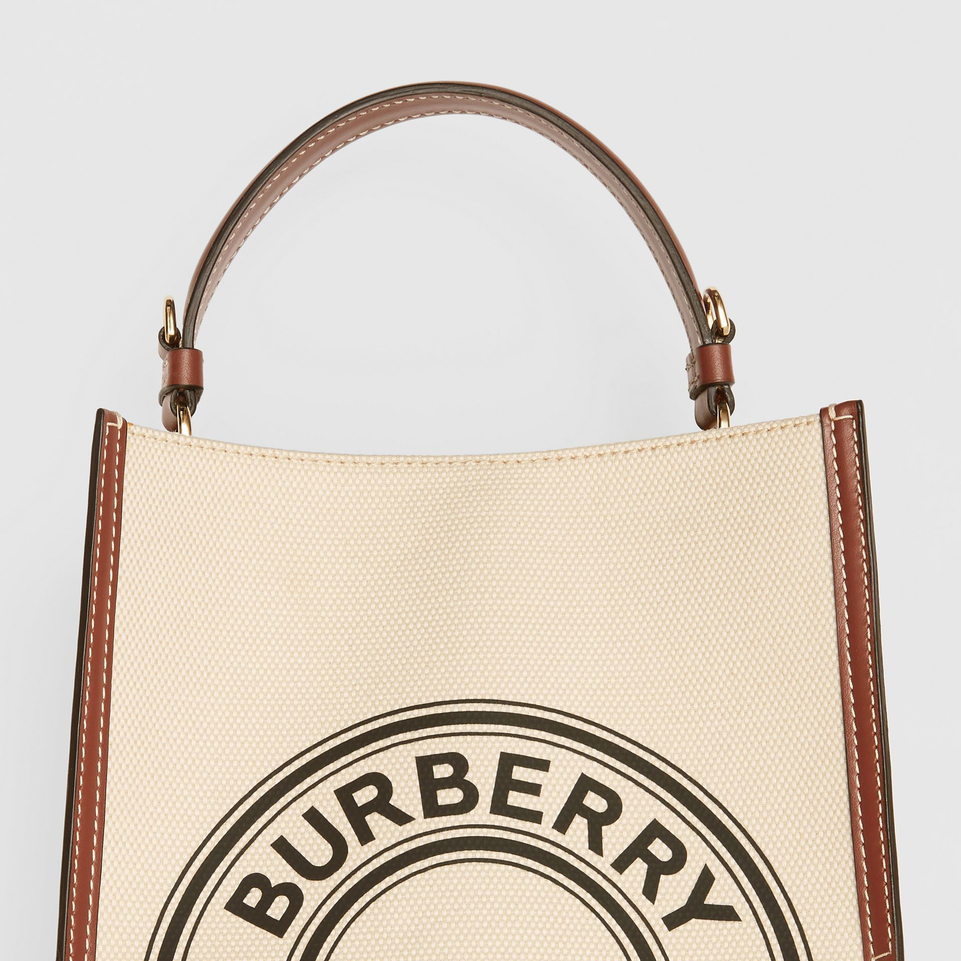 Small Logo Graphic Cotton Canvas Peggy Bucket Bag in Natural - Women | Burberry - gallery image 1
