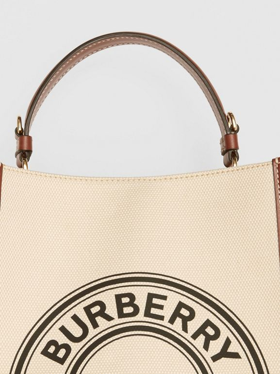 Small Logo Graphic Cotton Canvas Peggy Bucket Bag in Natural - Women | Burberry - cell image 1