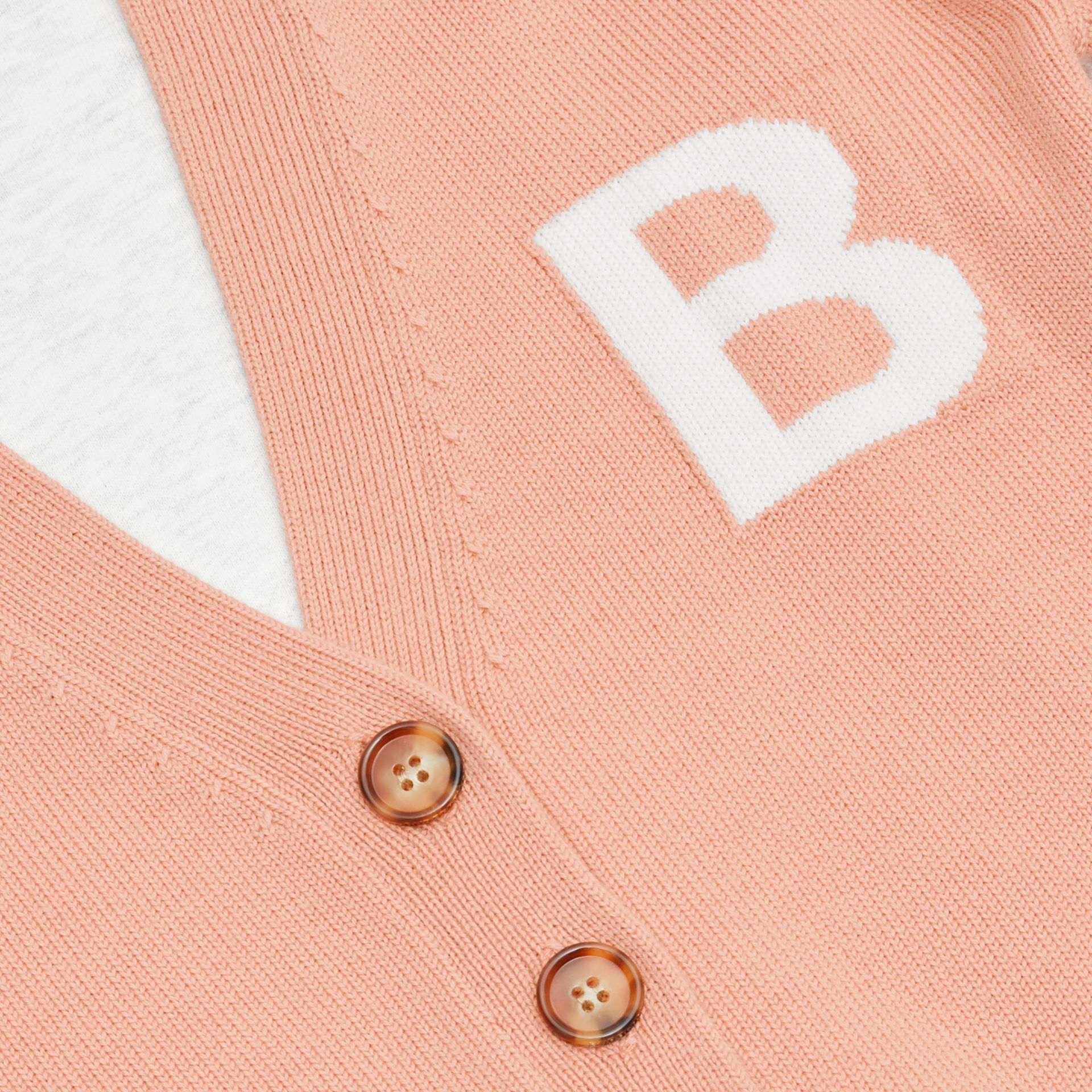 B Motif Merino Wool Jacquard Cardigan in Peach - Girl | Burberry - gallery image 1