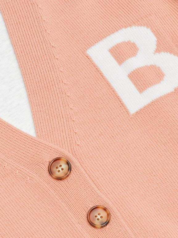 B Motif Merino Wool Jacquard Cardigan in Peach - Girl | Burberry - cell image 1