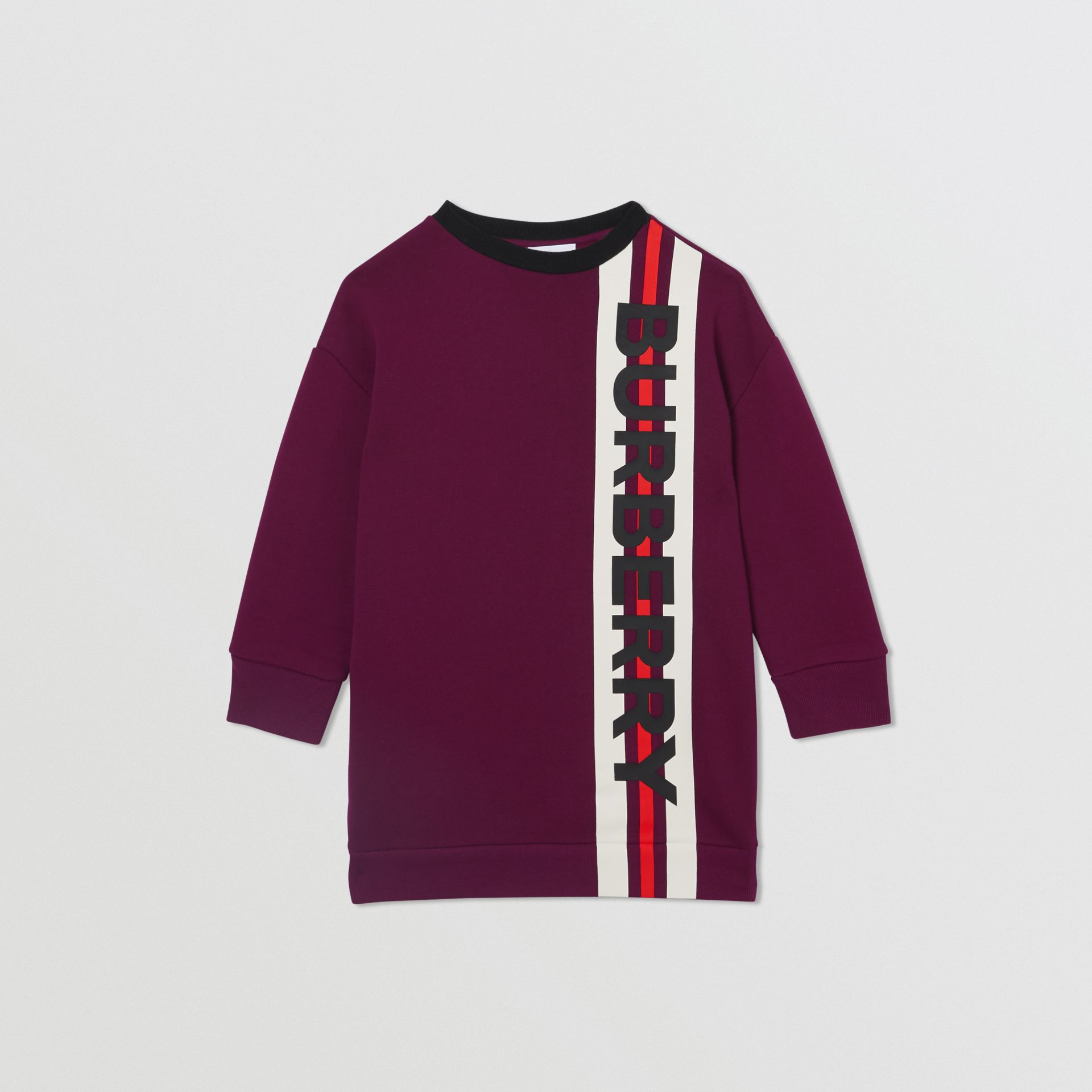 Logo Print Jersey Sweater Dress in Burgundy | Burberry Singapore - gallery image 0