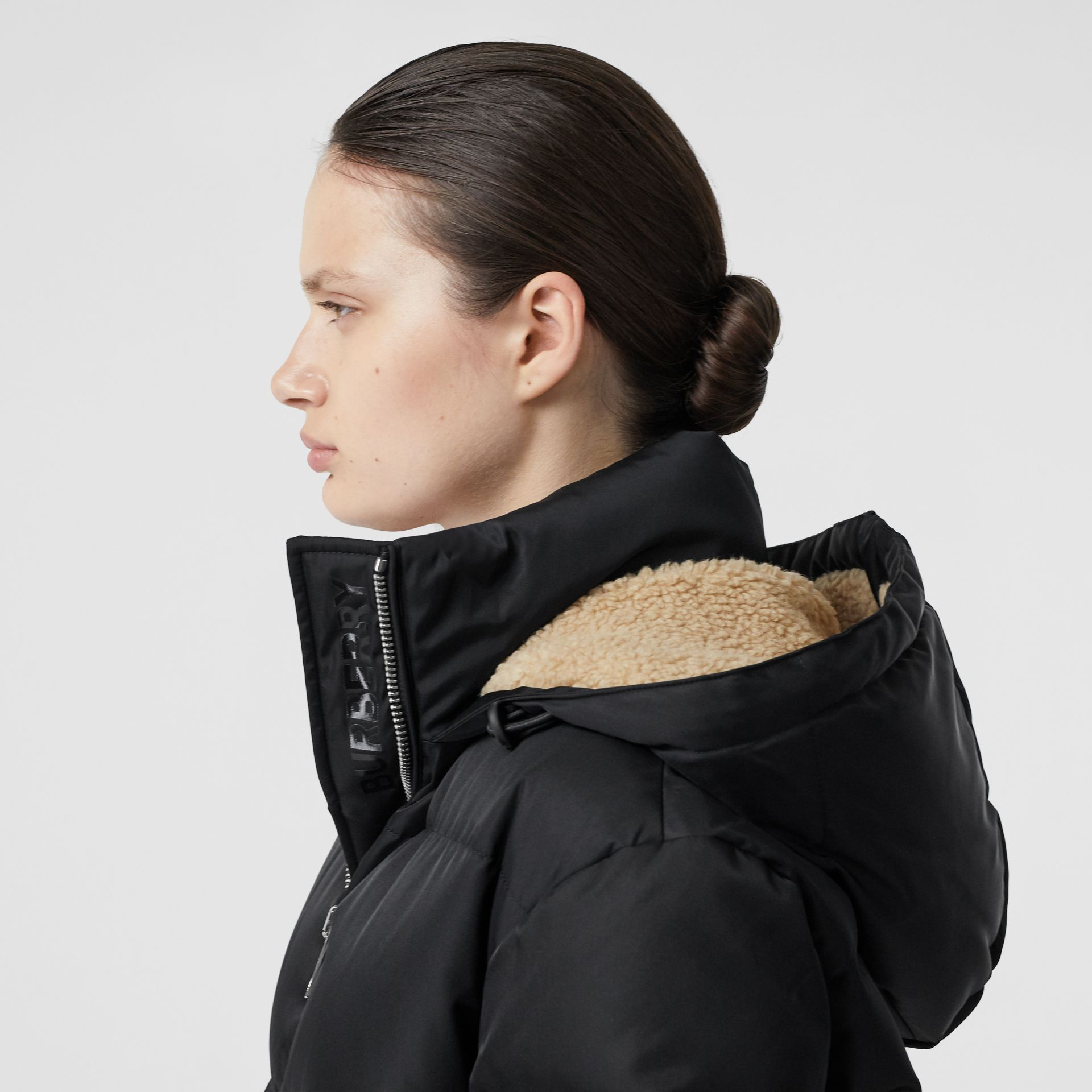 Logo Detail Puffer Coat in Black - Women | Burberry - gallery image 1