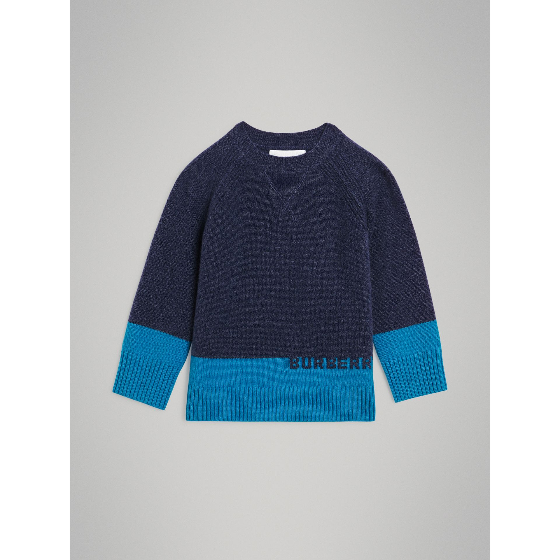 Logo Intarsia Cashmere Sweater in Navy | Burberry - gallery image 0