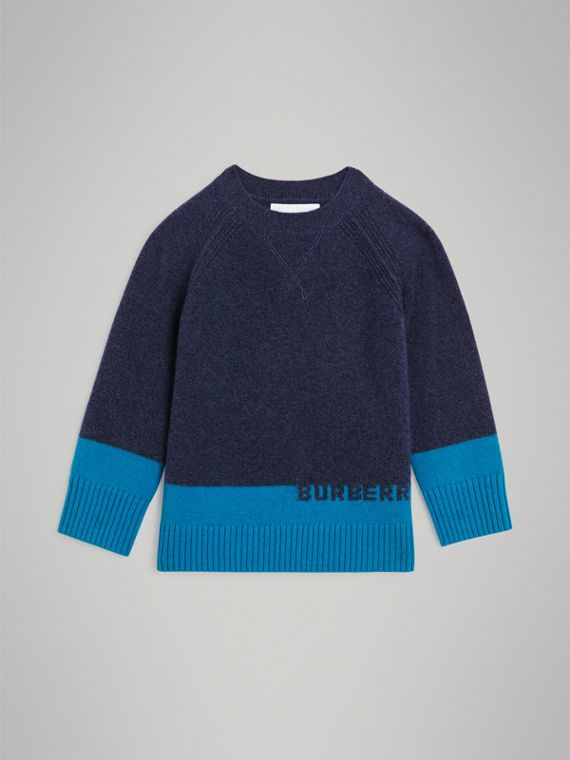 Logo Intarsia Cashmere Sweater in Navy