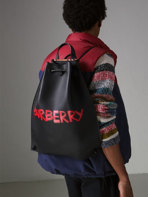 Graffiti Print Bonded Leather Drawcord Backpack in Black - Men | Burberry - cell image 3