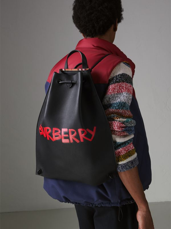 Graffiti Print Bonded Leather Drawcord Backpack in Black - Men | Burberry Singapore - cell image 3