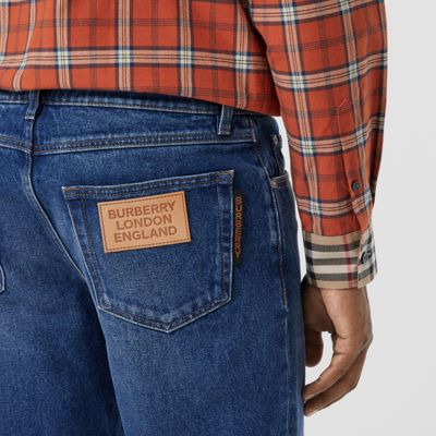 Straight Fit Indigo Jeans in Blue Men | Burberry